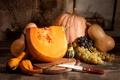Картинка осень, листья, урожай, виноград, тыква, autumn, still life