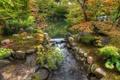 Картинка деревья, парк, камни, речка, мостик