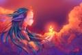 Картинка девушка, облака, ветер, кровь, слёзы, локоны, иголка
