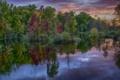 Картинка осень, лес, небо, облака, река, вечер