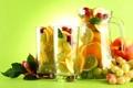 Картинка листья, малина, фон, апельсины, бокалы, виноград, лайм