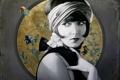 Картинка девушка, рыбки, ретро, фон, арт, Christiane Vleugels
