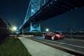 Картинка ночь, мост, город, черная, Honda, Accord, хонда