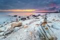 Картинка море, закат, камни