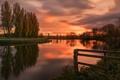 Картинка природа, река, закат, деревья