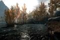 Картинка пейзаж, трава, вода, деревья, The Elder Scrolls V Skyrim, природа, горы
