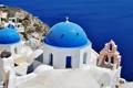 Картинка море, Санторини, Греция, церковь, купола, Santorini, Oia
