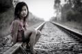 Картинка Girl on Railway, девочка