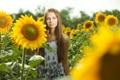 Картинка поле, девушка, солнце, макро, подсолнухи, цветы, улыбка