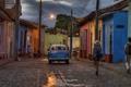 Картинка облака, линии электропередачи, Тринидад, Санкти-Спиритус, фонарные столбы, Куба, быт