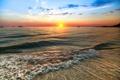 Картинка море, солнце, вечер, прибой