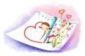 Картинка бумага, рисунок, позитив, девочка, сердечки, карандаш, сапожки