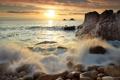 Картинка море, волны, камни, берег