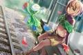 Картинка девушка, лепестки, арт, железная дорога, pokemon, xiamianliele, roserade