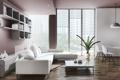 Картинка стол, лампы, комната, диван, растение, окно, кресла