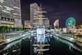 Картинка ночь, огни, корабль, дома, Япония, Токио, канал