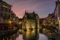 Картинка ночь, огни, Франция, дома, канал, Анси