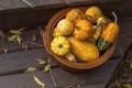Картинка осень, корзина, урожай, тыквы