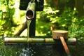 Картинка ковш, камень, тсукубаи, японский сад, бамбуковый, зелень, вода