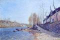 Картинка весна, река, Alfred Sisley, набережная, небо, облака, лодки