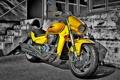 Картинка yellow machine, harley, мотоцикл