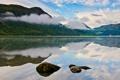 Картинка небо, облака, горы, озеро, камни
