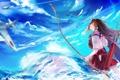 Картинка самолеты, Девушка, лук, небо, стрелы, вода