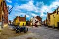 Картинка дорога, дома, Бельгия, переулки, мотоцыкл, велосипеды, улочки
