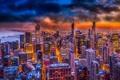 Картинка USA, ночь, высота, огни, Chicago, illinois, мегаполис