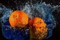 Картинка вода, брызги, апельсины