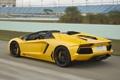 Картинка скорость, трасса, yellow, roadster, задок, LP700-4, Lamborghini Aventador