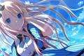 Картинка небо, девушка, облака, улыбка, арт, бант, makita maki