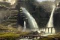 Картинка мост, город, река, скалы, водопад, арт, акведук