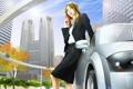 Картинка машина, девушка, деревья, город, небоскребы, телефон, мобильник