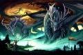 Картинка девушка, озеро, магия, драконы, арт, гигантские