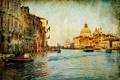 Картинка дома, лодки, Венеция, канал, vintage, винтаж, старая фотография