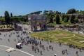 Картинка небо, деревья, люди, площадь, Рим, Италия, вид со стороны Колизея