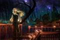 Картинка ночь, звёзды, фонари, перила, мужчина, веранда, купола