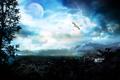 Картинка небо, горы, птицы, город, дерево, молнии, планета