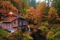 Картинка осень, лес, природа, дом, река