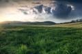 Картинка небо, трава, солнце, облака, закат, холмы