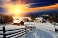 Картинка зима, солнце, снег, хижина, landscape, winter, snow