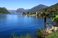 Картинка горы, озеро, берег, дома, Швейцария, Luganer See, Brusino Arsizio