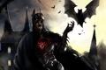 Картинка замок, batman, кровь, бэтмен, арт, костюм, вампир