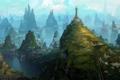 Картинка зелень, горы, город, скалы, маяк, арт, вид сверху