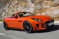 Картинка car, Jaguar, ягуар, road, красивый, speed, orange