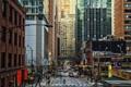 Картинка машины, люди, улица, здания, дома, небоскребы, Чикаго