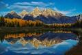 Картинка осень, лес, небо, облака, горы, озеро