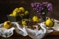 Картинка цветы, орех, натюрморт, айва
