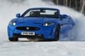 Картинка снег, синий, jaguar, xkr-s, Convertible